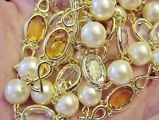 Vintage Necklace-Swarovski Element-Clear-Honey Crystal-Bezel-Beads-Gold P-@
