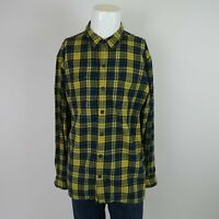 Ascend Yellow Blue Long Sleeve Button Front Flannel Plaid Casual Shirt Mens XL