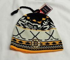 NHL Reebok Face Off Boston Bruins Ugly Sweater Knit Hat Beanie Cuffless Toque