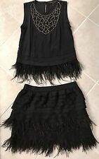 BCBG MAX AZRIA BLACK FEATHER DETAIL TOP and SKIRT Size Small