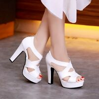New Womens Sexy Strappy Platform High Block Heels Sandals Party Dress Shoes Size