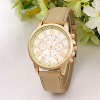 Hot Women Geneva Stainless Steel Faux Leather Band Quartz Analog Wrist Watch UK