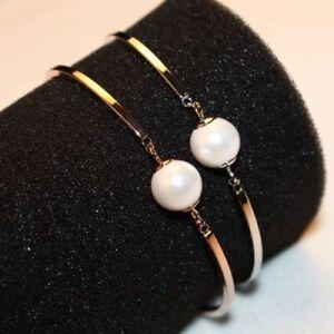18K CT Rose Gold Filled Pearl Bangle Bracelet made with SWAROVSKI ELEMENTS