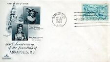 FIRST DAY COVER  300TH ANNIVERSARY OF ANNAPOLIS MD MAY 23 1949