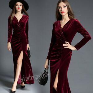 Elegant Autumn Winter Pleuche Womens Slim Dress V-Neck Formal Party A-line Dress