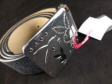 Cool Unisex Playboy Black/Brown Belt with Silver Bunnies Buckle - Medium
