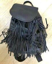 🦋H&M Small Black Tassel Fringe Backpack Bag Faux Leather 🦋