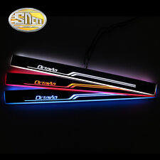 Sncn LED Moving Welcome Door Sill Scuff Plate for Skoda Octavia 2016