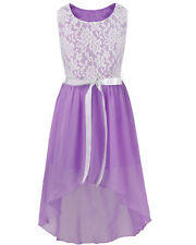 Chiffon Flower Girl Dress Princess Party Wedding Birthday Prom Lace Top Dresses