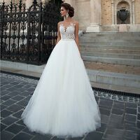 Sleeveless A Line Court Train Lace Wedding Dress White Ivory Beach Bridal Gowns