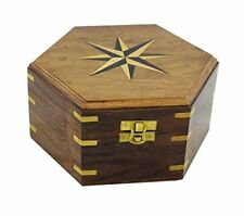 Wooden Box/Chest/Treasure Chest - Marquetry/Messing-7 1/8in- Sechseckig-