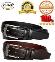 2 Pack Men's Belts Leather Dress Belts Black Belt & Brown Belt