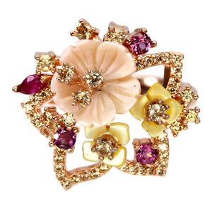 Marquise Red Ruby Rhodolite Garnet Mop Cz 925 Sterling Silver Flower Ring Size 6