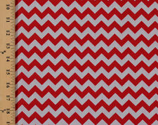 Cotton Small Chevron Red and Gray Striped Cotton Fabric Print by Yard D686.02