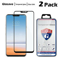 [2-Pack] Glasave Full Cover Tempered Glass Screen Protector Film For LG G7 ThinQ