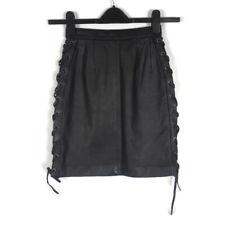 Cruiser by Fieldsheer Real Black Leather Mini Lace Side Biker Skirt Size 4/6