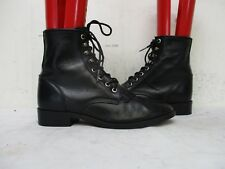 JUSTIN Black Leather Kiltie Lace Roper Cowboy Boots Youth Size 5.5 D Style 506Y
