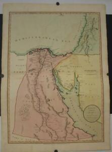EGYPT SAUDI ARABIA ISRAEL 1801 LARIE & WHITTLE LARGE ANTIQUE COPPER ENGRAVED MAP