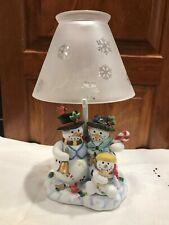 "Partylite Candle Holder Lamp Glass Shade, Mr Mrs & Child Snowmen Birds 12""x 7"""