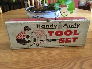 "Vintage HANDY ANDY TOOL SET Metal Tool Box, BOX ONLY, 14"" x 5"" x 2 3/4"" VG COND!"
