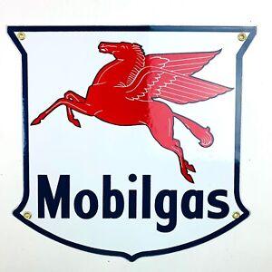 Vintage-StylePorcelain Gasoline Sign Mobilgas Reproduction Retro Man Cave Mobil