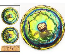 XL 36mm FOCAL Vintage Czech Glass 3D Green Rainbow Flash AB GARDENIA Buttons 2pc