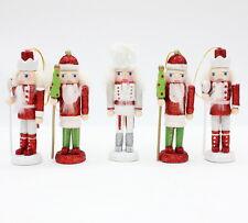 Set of 5 Glitter Wooden Nutcracker Soldier Model Figurine xmas gift Decor 12.5cm
