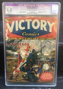 1941 Victory Comics #1 CGC 4 Restored Grade WWII Nazi War Cover William Everett