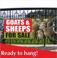 GOATS & SHEEPS FOR SALE Banner Vinyl / Mesh Banner Sign Farmers Market Stand