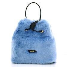 Furla Stacy Nuvola Bucket Mini Bag Light Blue Eco Fur Woman 992629