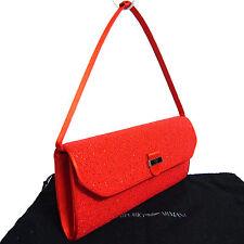 Auth Emporio Armani Red Beaded Satin Clutch Hand bag Purse Pochette Good Vintage