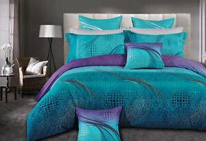 double Queen KING duvet cover 3pcs aqua turquoise quilt Cover set /options
