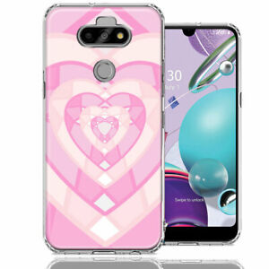 For LG Aristo 5/Phoenix 5/Risio 4 Pink Gem Hearts Double Layer Case