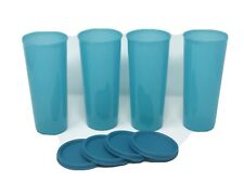 Tupperware Tumblers Blue Color 16 Oz set of 4 - w/ same color Lids New