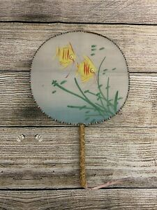 Vintage Hand Painted Fish Design Silk Oriental Hand Fan With Bamboo Handle Used