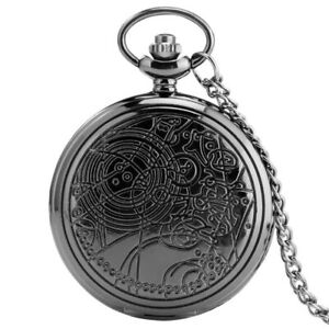 Vintage Quartz Pocket Watch Gift Necklace Doctor Who Chain Full Hunter Pendant