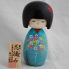 Authentique poupée japonaise kokeshi fait main au Japon-hanatsumi / bouquet de fleurs