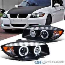 For BMW 07-13 E81 E82 E87 E88 1-Series LED DRL Halo Black Projector Headlights