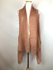 NWT Pretty Angel Crinkled Lagenlook Open Silk Blend Stretchy Vest Mauve Pink OS
