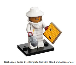 Lego Beekeeper, Series 21 (Complete Set with Stand and Accessories)