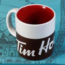 "TIM HORTONS 2016 Coffee Mug, 4"" x 3 5/8"", brown / white, red inside, Near Mint!"