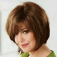 100% Real hair! New Charm Women's Short Dark Brown Straight Human Hair Full Wigs