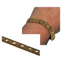 Bracelet ancien vintage de couleur or maille plate granitée et diamantée bijou