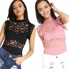 New Womens Short Sleeves Ruffle Lace Exquisite BodySuit Dress