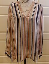 Joie - Navy and tan striped blouse - Size M