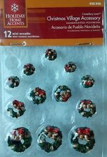 Holiday Home Accents Christmas Village Accessory Hand Painted 12 Mini Wreaths