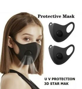 Face Mask With Filter Valve Vent Reusable Breathable Washable Black 3D Star Mask