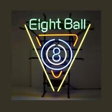 "Eight Ball Neon Sign Light Game Room Billiard Hall Open Signboard Decor17""x13"""