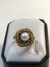 18k Gold Woven Rope Design Estate Ring Pearl Sapphires