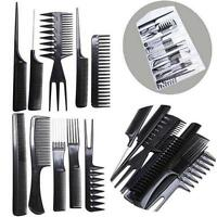 10 piece Comb Set Salon Hair Styling Pro Black Hairdressing Brush Barbers S